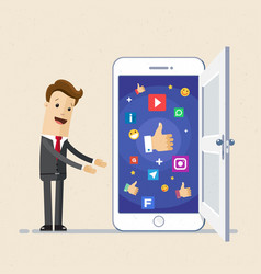 Business man show screen of smartphone with icons vector