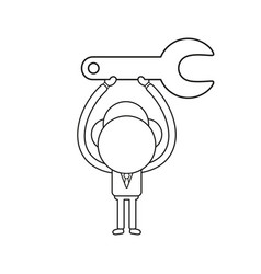 businessman character holding up spanner black vector image