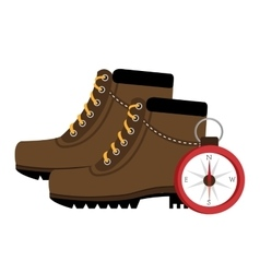 Camping boots shoes with isolated icon design vector