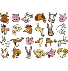 Cartoon farm animals heads huge set vector image