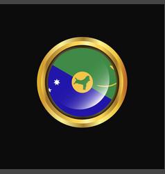 Christmas island flag golden button vector