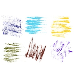 Color crayons hand drawing abstract on white vector