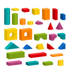Colorful blocks toy details for tower building vector