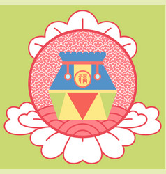 colorful fortune bag with hieroglyph image vector image