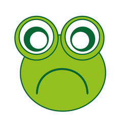 Comic sad frog character icon vector