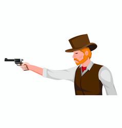 Cowboy with gun cartoon vector