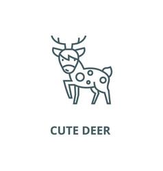 cute deer line icon cute deer outline vector image