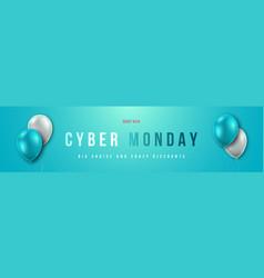 cyber monday sale concept design long banner vector image
