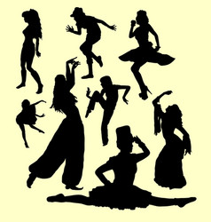 dancing action girl movement silhouette vector image