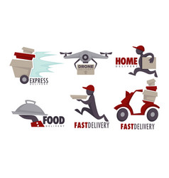 delivery service food goods and post isolated vector image