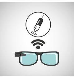 digital glasses wifi medical vaccination vector image