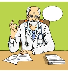 Doctor shows gesture Ok comic book vector