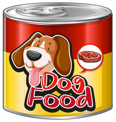 Dog food in aluminum can with cute dog on label vector