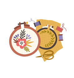 embroidery hoops spools threads and scissors vector image