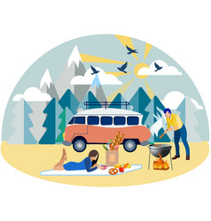 family weekend picnic in nature in minimalist vector image