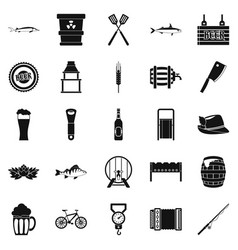 Fishery icons set simple style vector