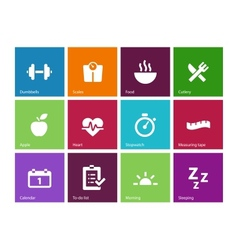Fitness icons on color background vector image