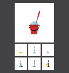 flat icon broomstick set of broomstick broom vector image