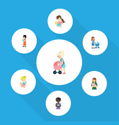 Flat icon parent set of perambulator mam baby vector