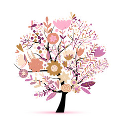 floral spring tree sketch for your design vector image