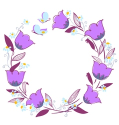 Floral wreath with butterflies vector