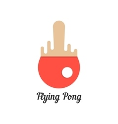 Flying pong with red melted tennis racket vector