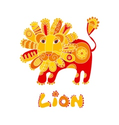 folk style red and yellow lion vector image