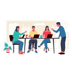 Freelancers at coworking cartoon people in office vector