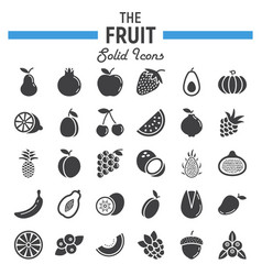 Fruit solid icon set food symbols collection vector