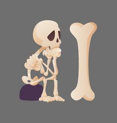 funny cartoon skeleton posing sitting on a stone vector image