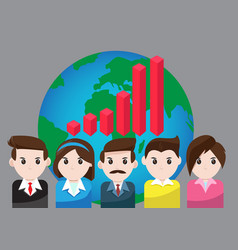 Graph business for teamwork success vector