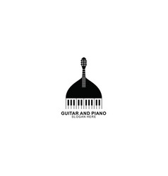 Guitar and piano button logo template design vector