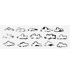 hand drawn clouds set collection vector image