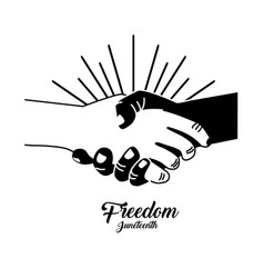 Hands together to celebrate freedom juneteeth vector