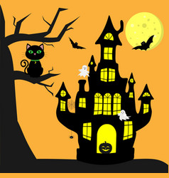 Happy halloween a witch s castle with a pumpkin vector