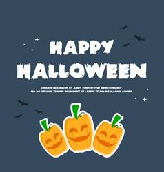 happy halloween design banner pumpkins vector image
