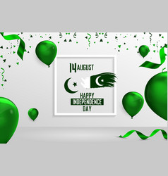 Happy independence day pakistan 14 august vector