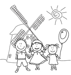 happy kids and wind mill vector image