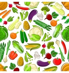 Healthy and raw farm vegetables seamless pattern vector