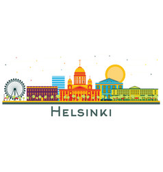 helsinki finland city skyline with color vector image