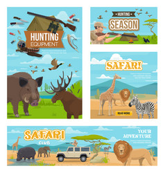hunting season african safari hunt animals vector image