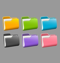 Icons folders set vector image