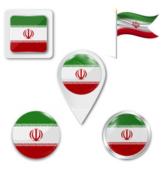 Iran flag button on white vector