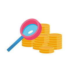 Isolated lupe and coins design vector