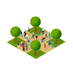 Isometric people lifestyle communication in an vector