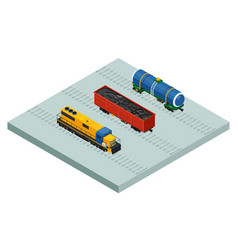 Isometric railroad cargo trains and cars vector