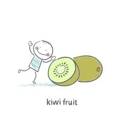 Kiwi fruit and a man vector image