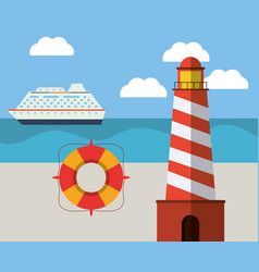ligthouse beach lifebuoy ship ocean vector image