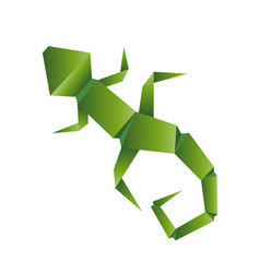 lizard abstract isolated origami on a white vector image