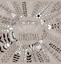 Merry christmas floral greeting vector